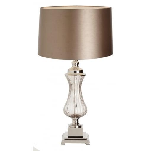 Lampa Birou Oliva Sticla Nickel Base