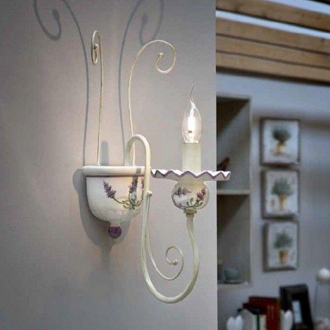 Aplica Led Ceramica Decorata Lampada Da Perete Clasic Rustica Intern