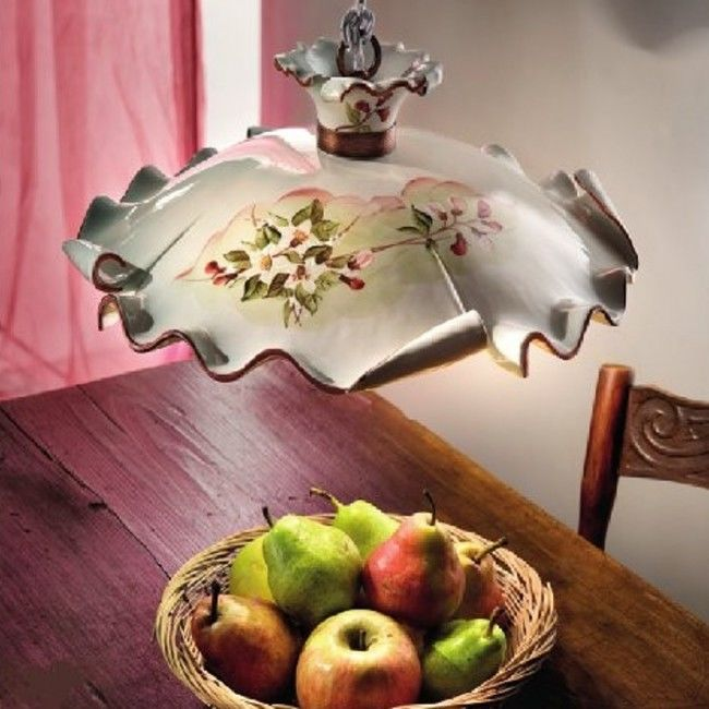 Lustra Led Ceramica Decorata Rustica Intern