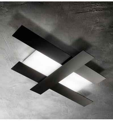 Plafoniera Led Aluminiu Negru Moderna