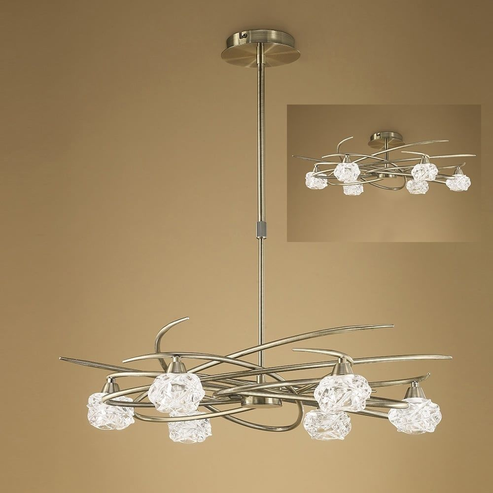 Plafoniera Telescopic Semi Flush Antic Cupru