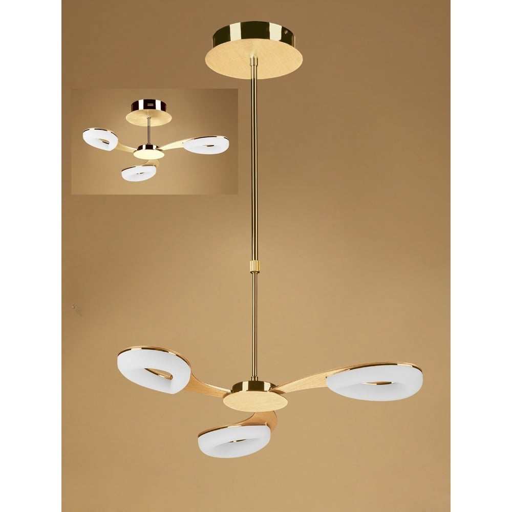 Plafoniera Telescopic Semi Flush Led Satin Auriu
