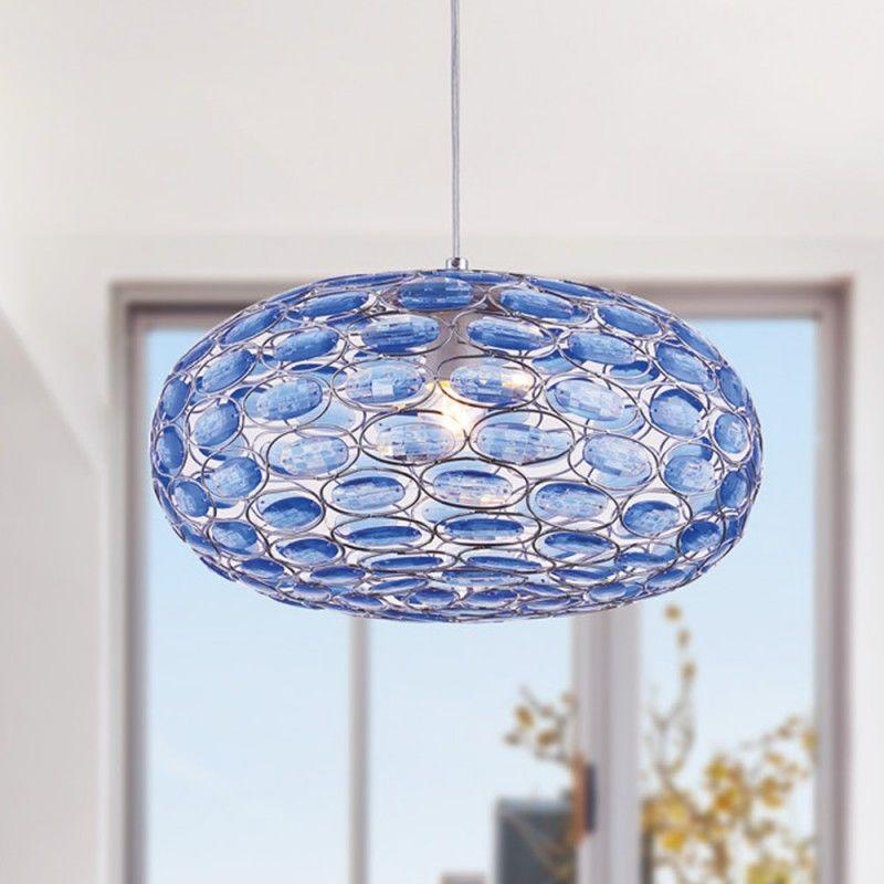 Lustra Blu Oval Cristal Blu